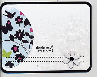 White flower thank you card