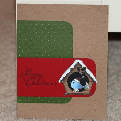 082108 Birdhouse Christmas card standing