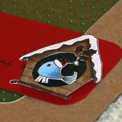 082108 Birdhouse Christmas card close up