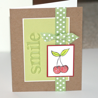 073007 Smile cherry card standing
