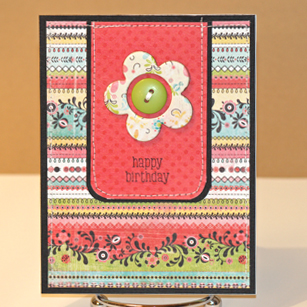 102408 Busy pattern bday card standing