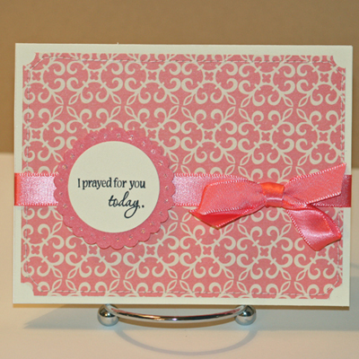 102408 Prayed for you pink standing card