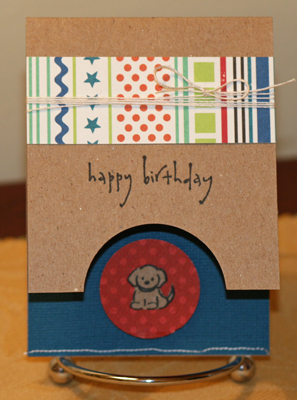 Doggy birthday mini card standing