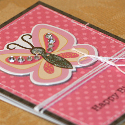 Pink butterfly mini card