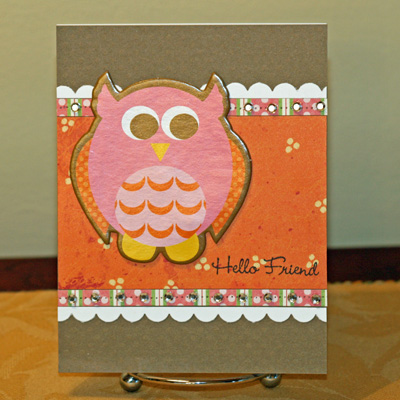 Owl hello friend card