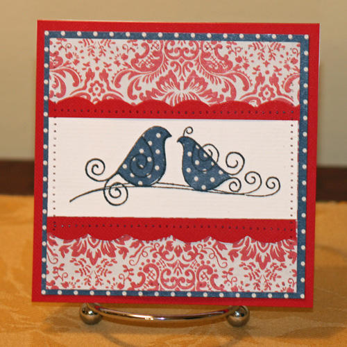 Red and blue birdie anniv card