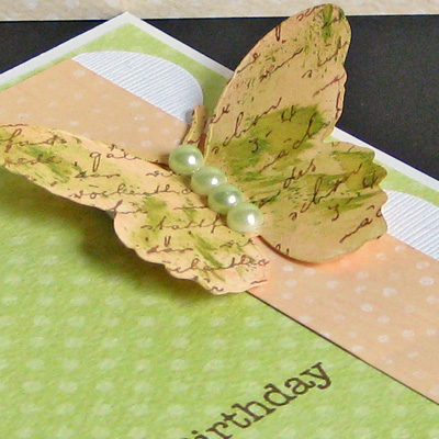 Peach dabbers butterfly card close up