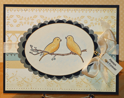 Love bird wedding card standing