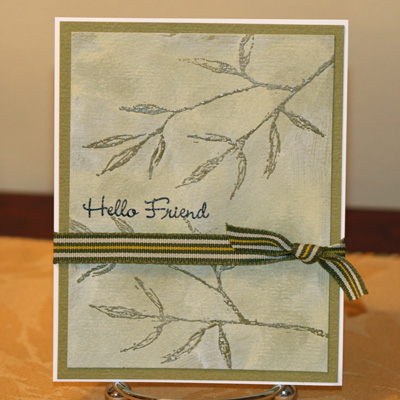 Hello friend shabby chic card standing