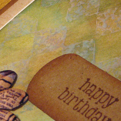 Birthday Dabbers stamped resist card close up