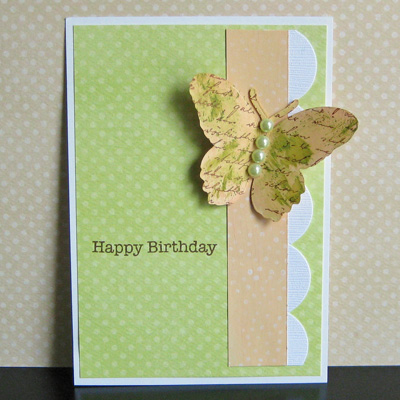Peach dabbers butterfly card