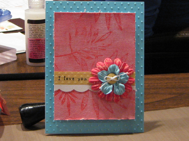 Pink painted card standing