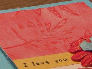 Pink painted card close up