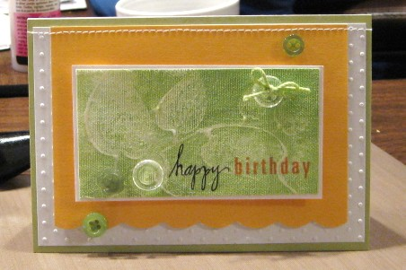 Green painted card standing