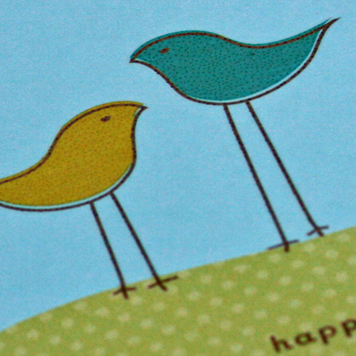 2 bird birthday card close up