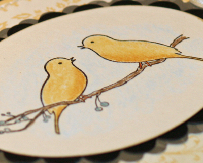 Love bird wedding card close up