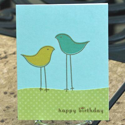 2 bird birthday card standing