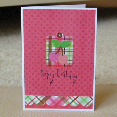 HB pink plaid card