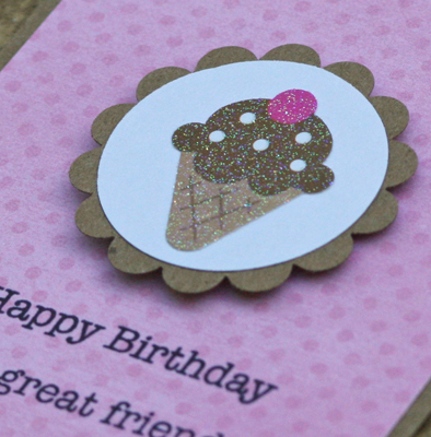 Happy bday cone card close up