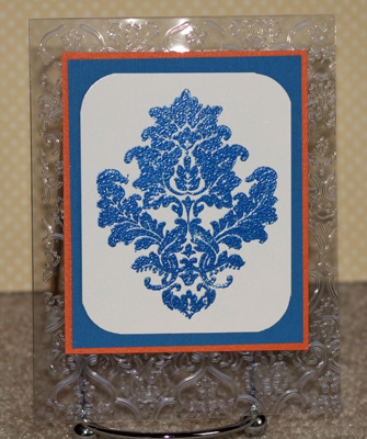 Blue and orange damask clear card standing