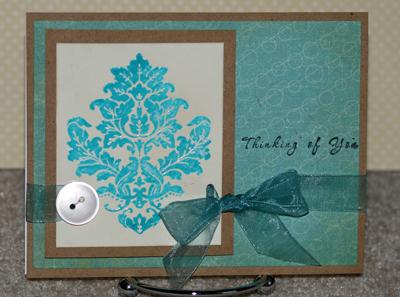 Aqua damask card standing