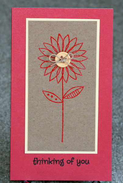 030910 Red embossed flower card
