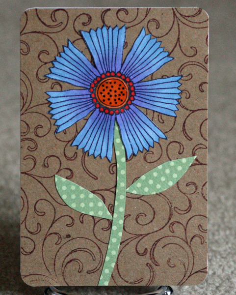 052210 Feathered flower card standing