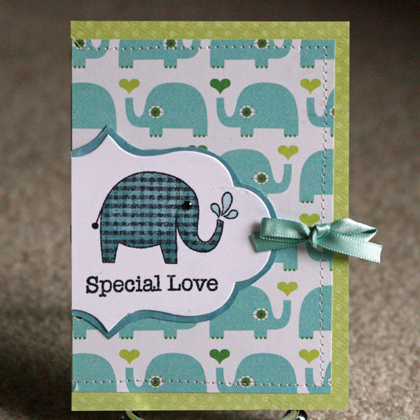 061410 Elephant baby card standing