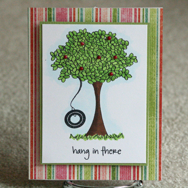 072810 Hang in there tree card standing