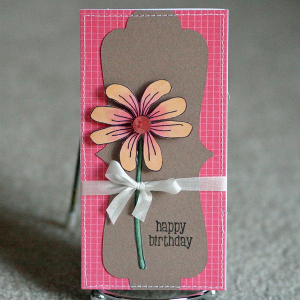 080110 OCL flower pink card standing