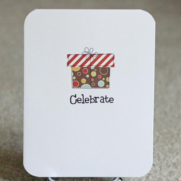 080110 Simple celebrate present card standing