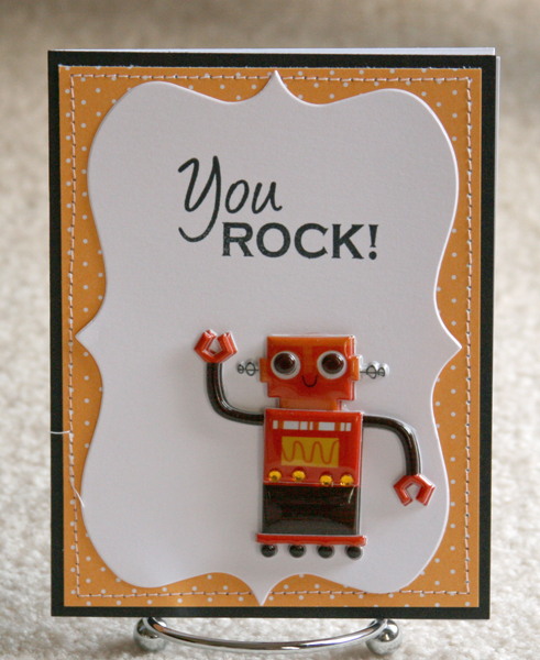 082010 Hugs robot card large orange dots