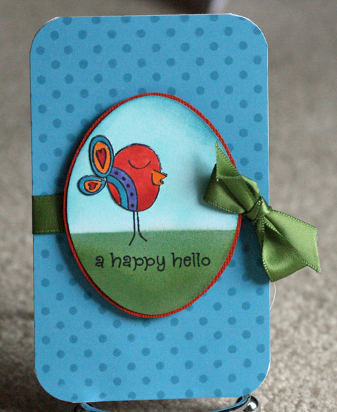052210 Happy hello birdie card standing