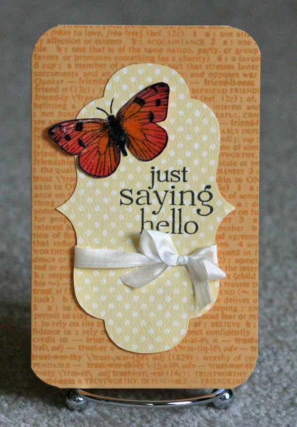 052210 Saying hello butterfly card standing