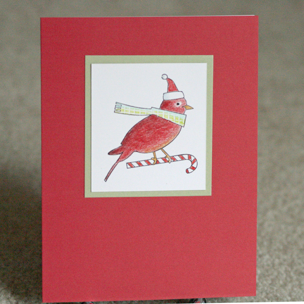080110 Dave class bird with scarf card standing