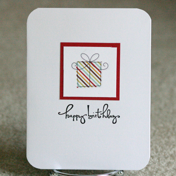 080110 Simple red stripe present card standing