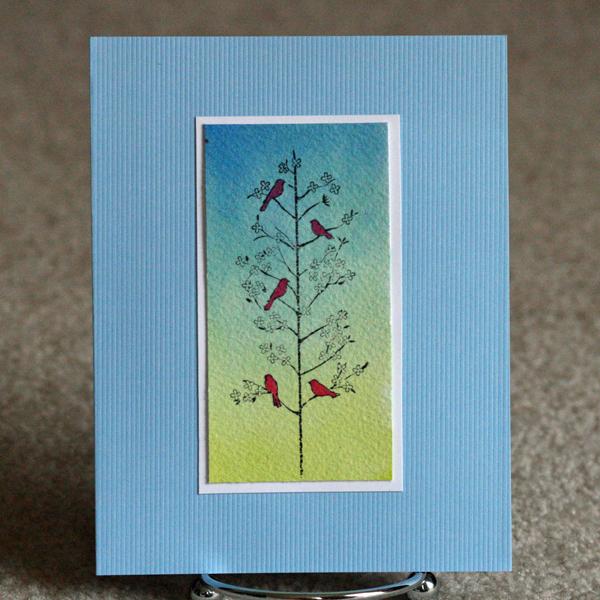 080810 Red bird watercolor card standing