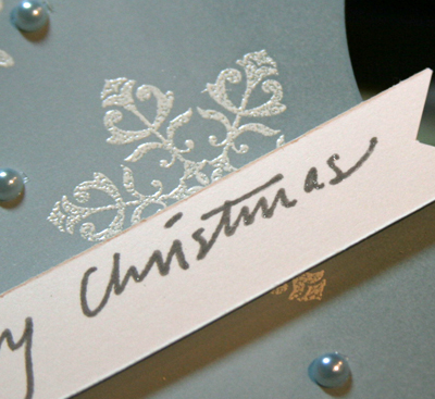 Snowflake embossed card close up