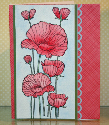 Watercolor pink flower card front