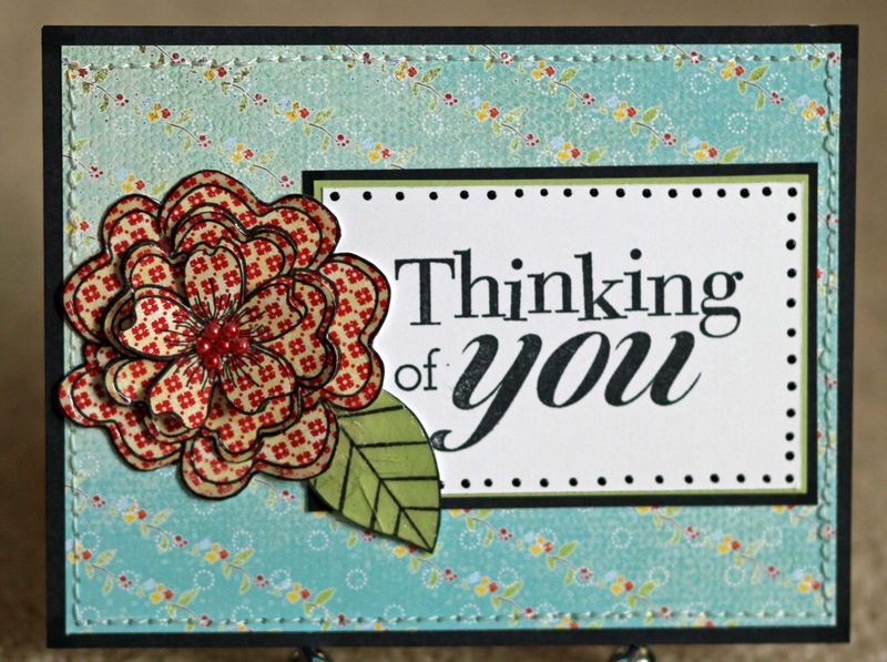 Thinking of you red flower card for Mom