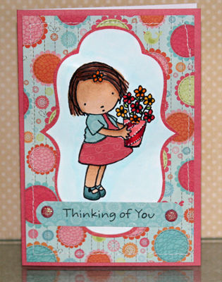 011210 Thinking of you girl with flowers card front