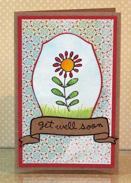 Get well soon flower card