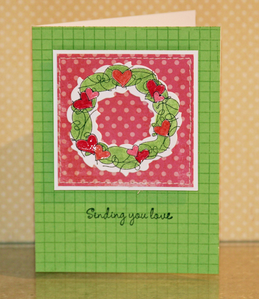 020111 Thinking of you wreath card standing