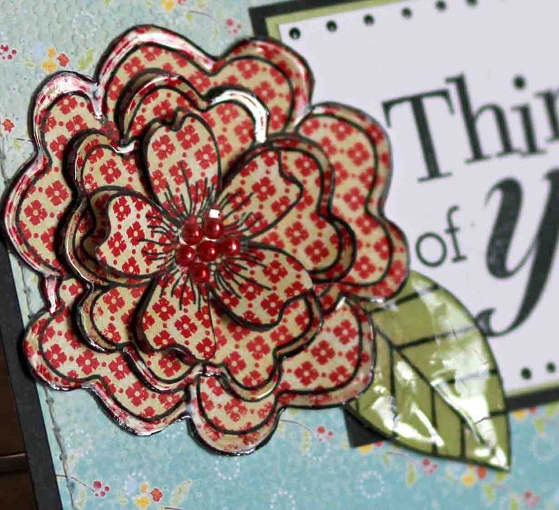 Thinking of you red flower card for Mom close upr