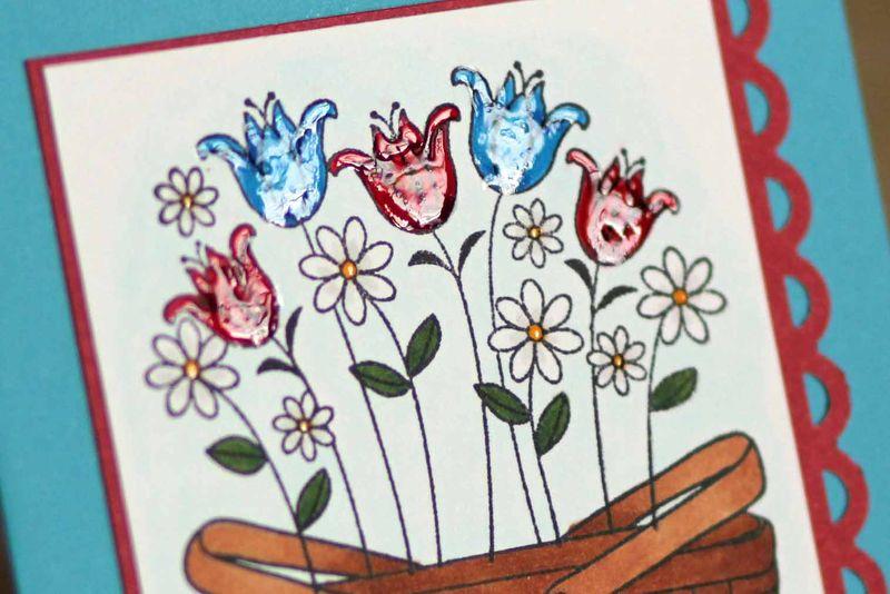 Flower basket card close up