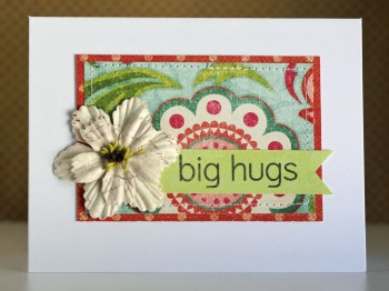 Big hugs white card