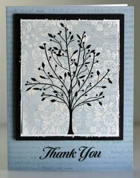 Thank you blue black tree card
