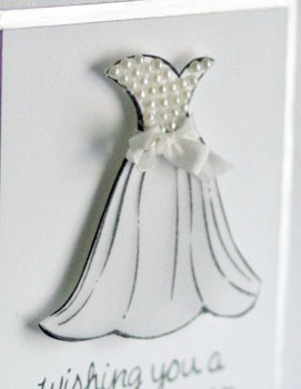 Wedding dress card close up