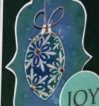 Joy ornament card closeup