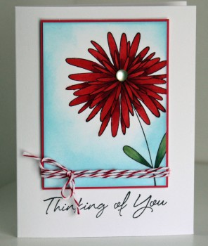 Thinking of you big red flower card resize